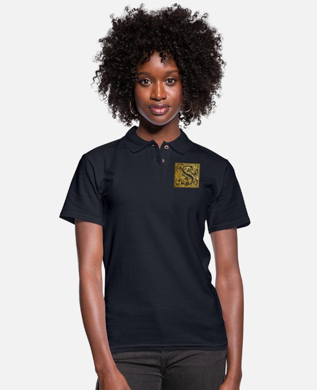 Arthawk Polo Shirts - Initials-S - Women's Pique Polo Shirt midnight navy