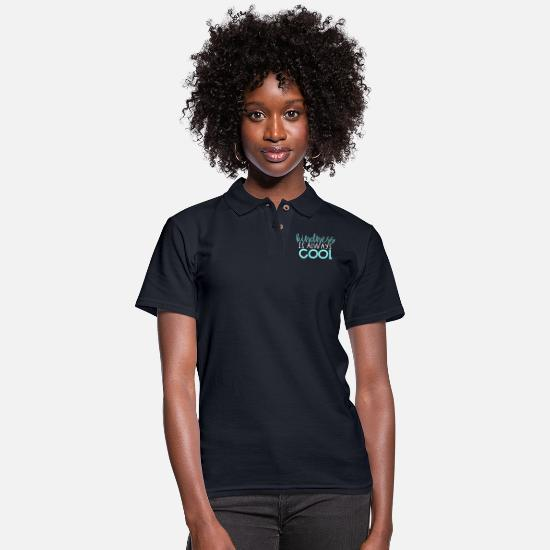 School Polo Shirts - Kindness is Always Cool - Women's Pique Polo Shirt midnight navy