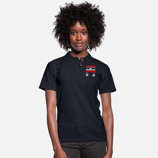Domestic Polo Shirts - DOMESTIC VIOLENGE - Women's Pique Polo Shirt midnight navy
