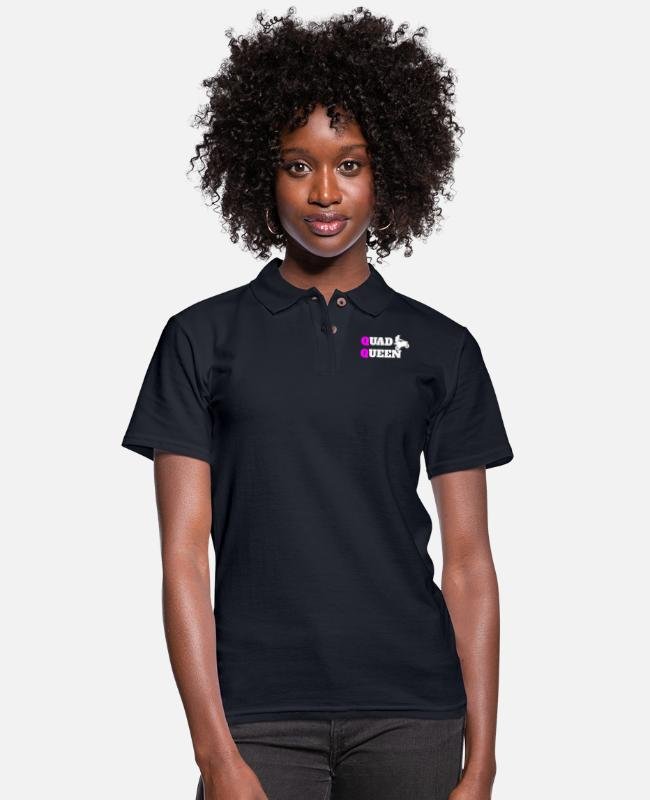 Quad Polo Shirts - Quad ATV UTV Offroad Racing - Women's Pique Polo Shirt midnight navy