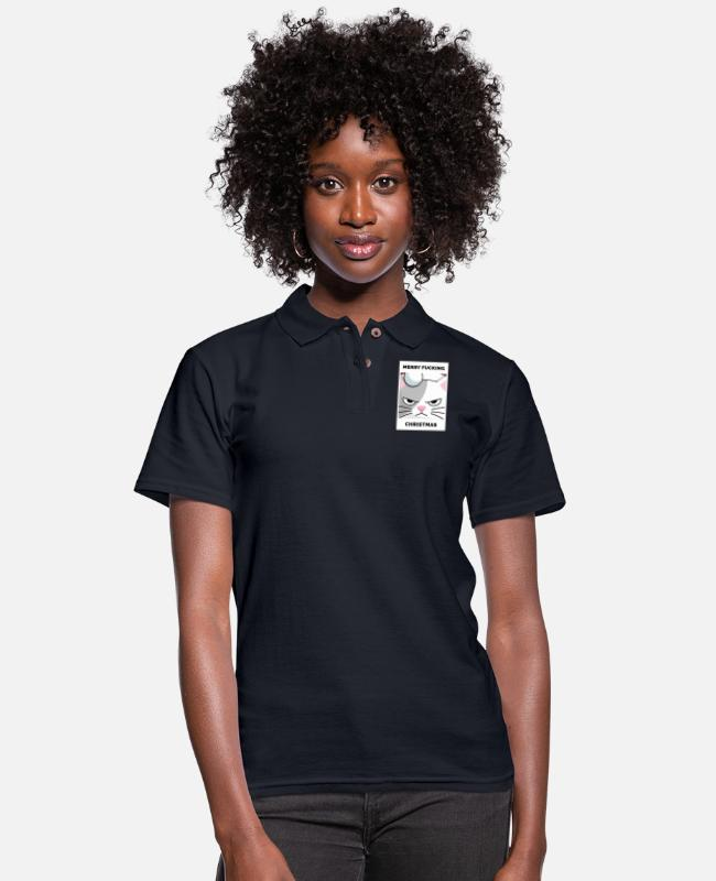 New Years Polo Shirts - Merry Fucking Christmas Cat gift - Women's Pique Polo Shirt midnight navy