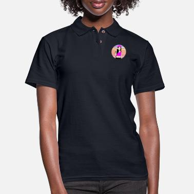 beautiful girl pink vintage colors design - Women's Pique Polo Shirt