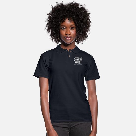 Camper Polo Shirts - What happens in the camper stays in the camper - Women's Pique Polo Shirt midnight navy