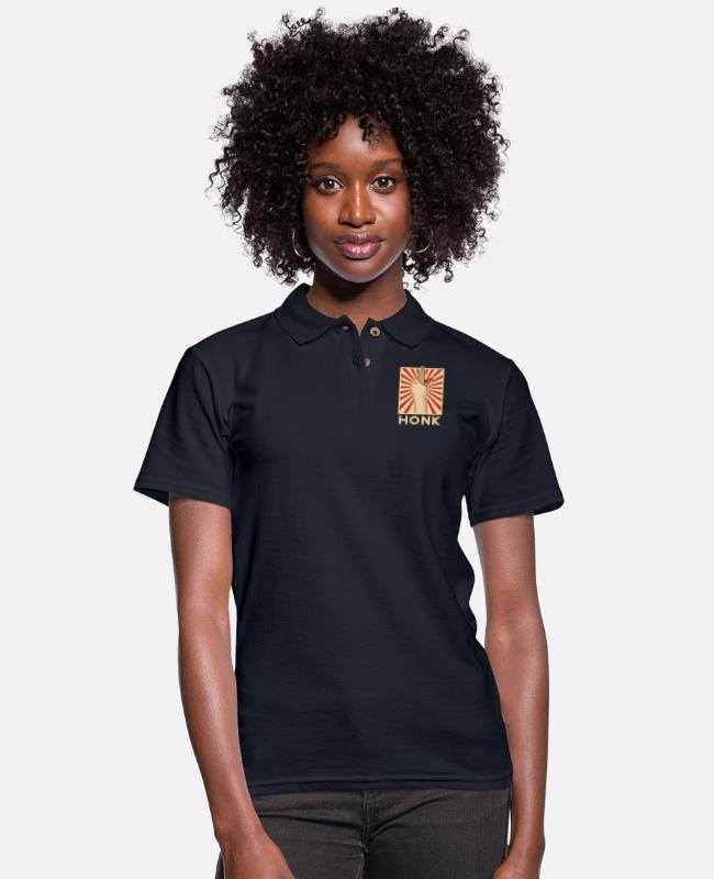 Resistance Polo Shirts - HONK PEPE - Women's Pique Polo Shirt midnight navy