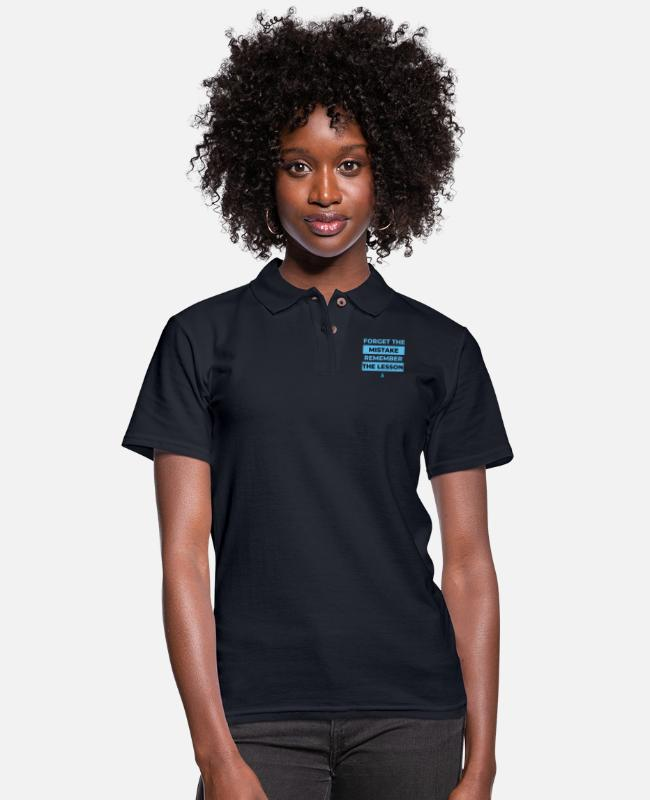 Therapy Polo Shirts - Forget the mistake remember the lesson - Women's Pique Polo Shirt midnight navy