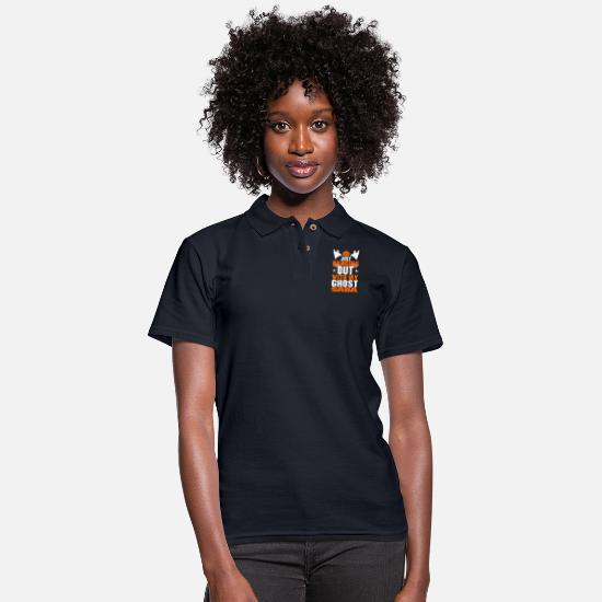 Festival Polo Shirts - Just Hanging Out With My Ghost Saba - Women's Pique Polo Shirt midnight navy