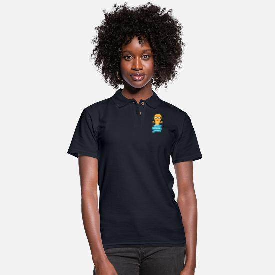 Education Polo Shirts - foolish Genius father - Women's Pique Polo Shirt midnight navy