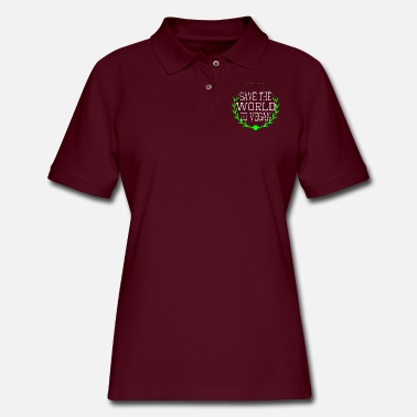 Humor athlete vegan power eat for the people fitness - Women's Pique Polo Shirt