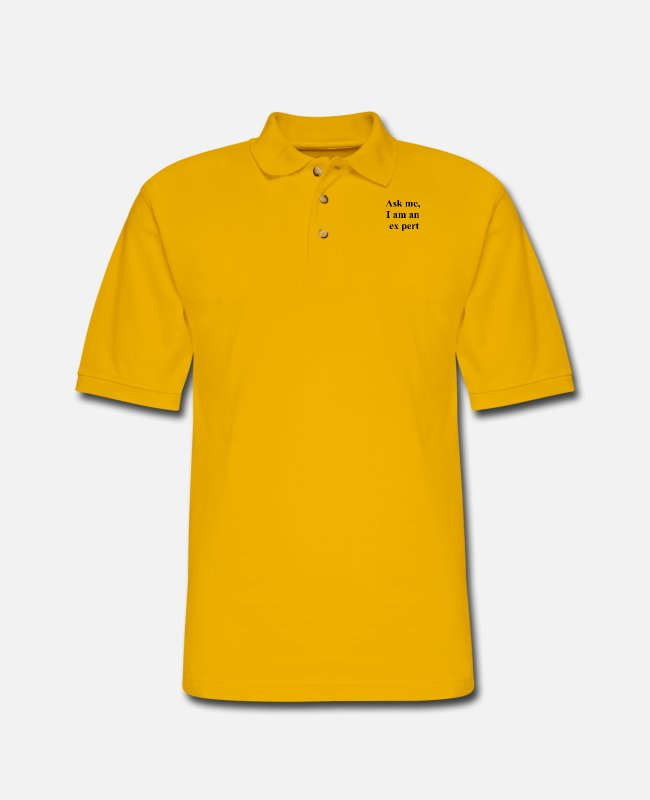 Laughter Therapy Polo Shirts - Ask me, I am an ex pert - Men's Pique Polo Shirt Yellow