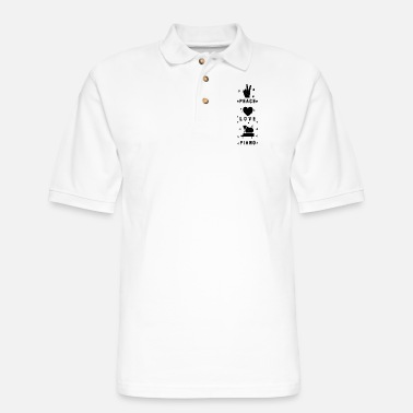 Happiness Is The Sound Piano Love Peace - Men's Pique Polo Shirt