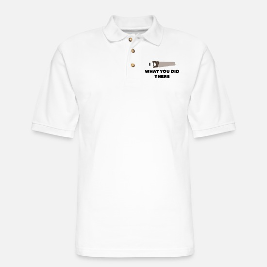 Meme Polo Shirts - I Saw What You Did There - Men's Pique Polo Shirt white