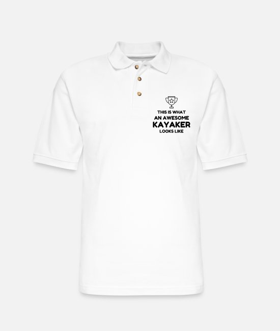 Paddle Polo Shirts - This is what an awesome kayaker looks like ! - Men's Pique Polo Shirt white