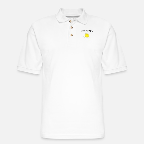 Happy Polo Shirts - Cute Get Happy Smiling Sun Face Light-Color - Men's Pique Polo Shirt white