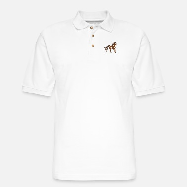 Cute brown horse - Horse gifts for horse lovers - Men's Pique Polo Shirt