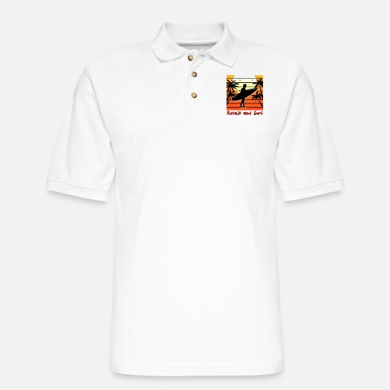 Wave Polo Shirts - Surfing Surfing Surfing Wave Water Surfboard - Men's Pique Polo Shirt white