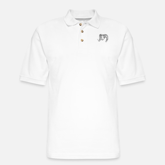 Doodle Polo Shirts - Argali Mountain Sheep Hea - Men's Pique Polo Shirt white