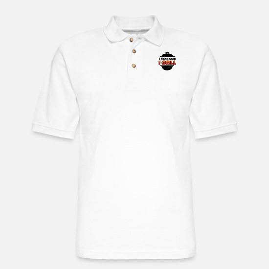 Grill Polo Shirts - idontcookigrill - Men's Pique Polo Shirt white