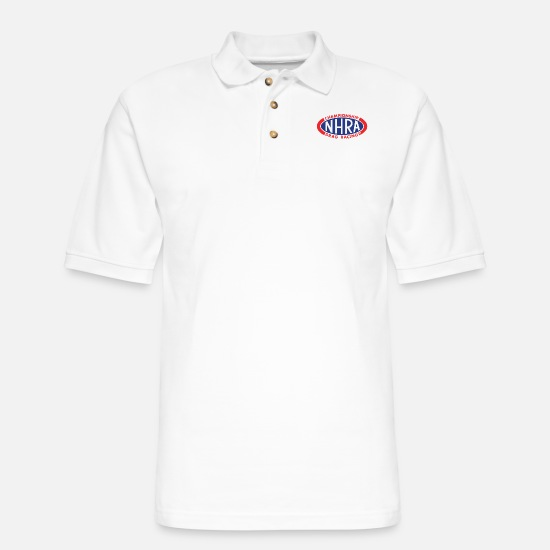 Oval Polo Shirts - NHRA Oval Logo - Men's Pique Polo Shirt white