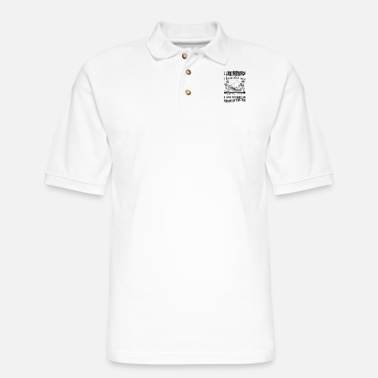 Wife Polo Shirts - sea - Men's Pique Polo Shirt white