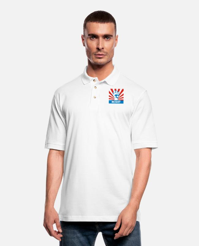 Resistance Polo Shirts - RESIST FIST - Men's Pique Polo Shirt white