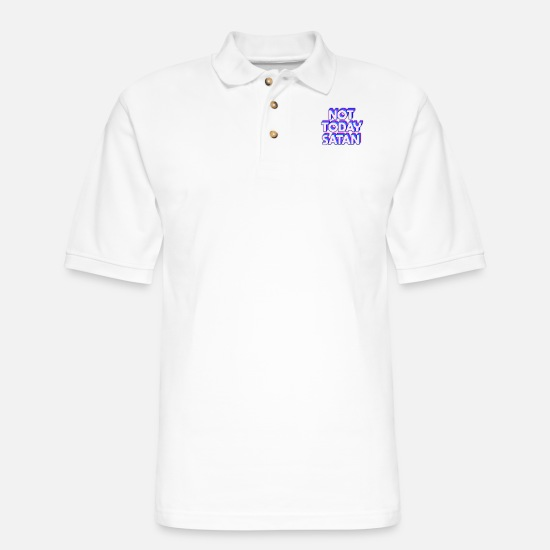 Satan Polo Shirts - not today satan - Men's Pique Polo Shirt white