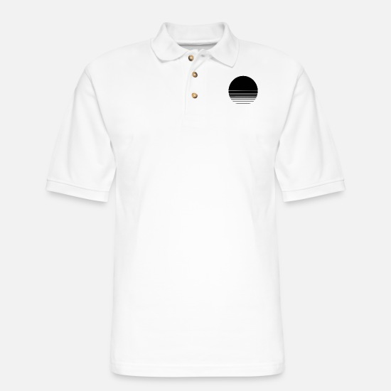 Geometry Polo Shirts - The Geometry of Sunrise - Men's Pique Polo Shirt white
