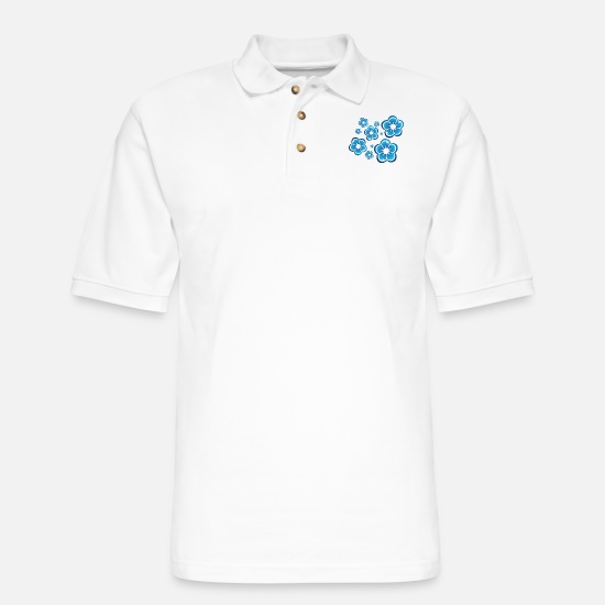 Gift Idea Polo Shirts - Flowers - Men's Pique Polo Shirt white