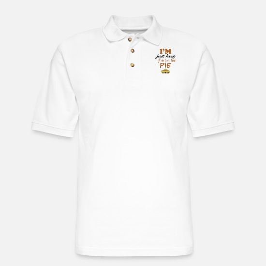 Alice In Wonderland Polo Shirts - Pumpkin Pie Thanksgiving Shirt | I'm just here for - Men's Pique Polo Shirt white