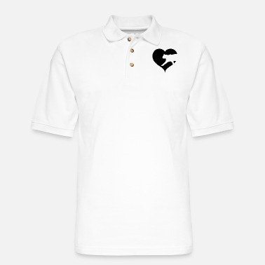 Cat with heart silhouette - Men's Pique Polo Shirt