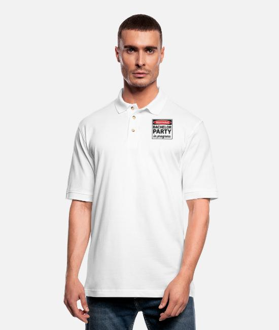 Warning Polo Shirts - Warning Bachelor Party in Progress - Men's Pique Polo Shirt white
