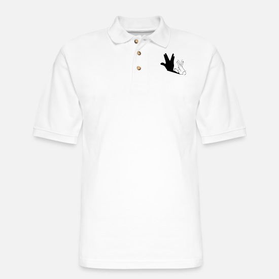 Trek Polo Shirts - Rabbit Trek Hand Shadow - Men's Pique Polo Shirt white