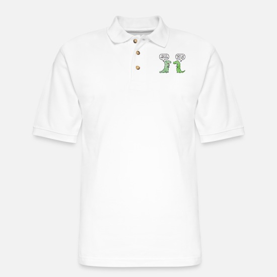 "Funny Polo Shirts - T-Rex Loves You ""This Much"" - Men's Pique Polo Shirt white"