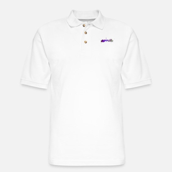 Toronto Polo Shirts - Toronto skyline - Men's Pique Polo Shirt white