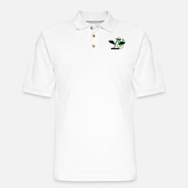 Dinosaurs cool dj music party celebrate mixing desk hang up - Men's Pique Polo Shirt