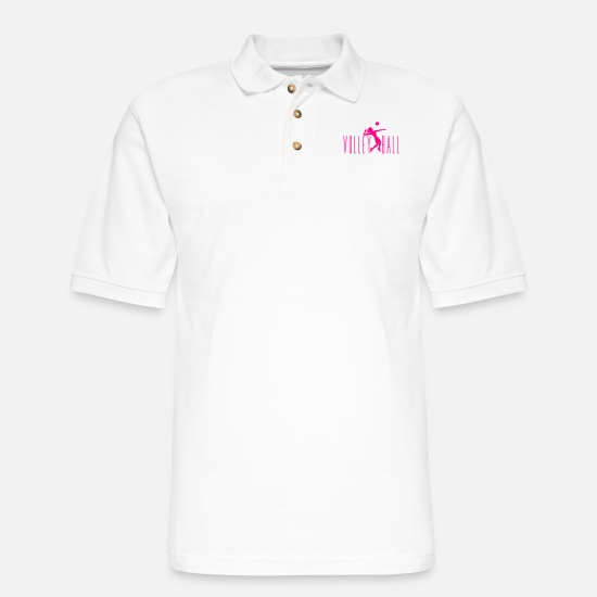 Game Polo Shirts - girl cool text girl woman female jump serve silhou - Men's Pique Polo Shirt white