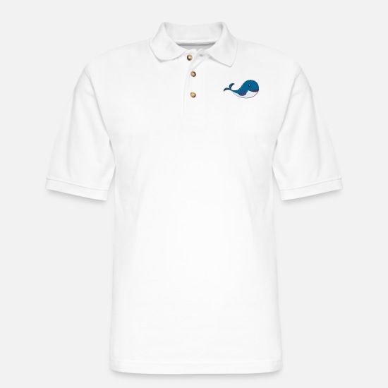 Wale Polo Shirts - Whale on the Sea - Men's Pique Polo Shirt white