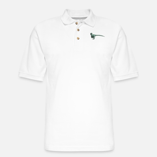 Cretaceous Period Polo Shirts - raptor - Men's Pique Polo Shirt white