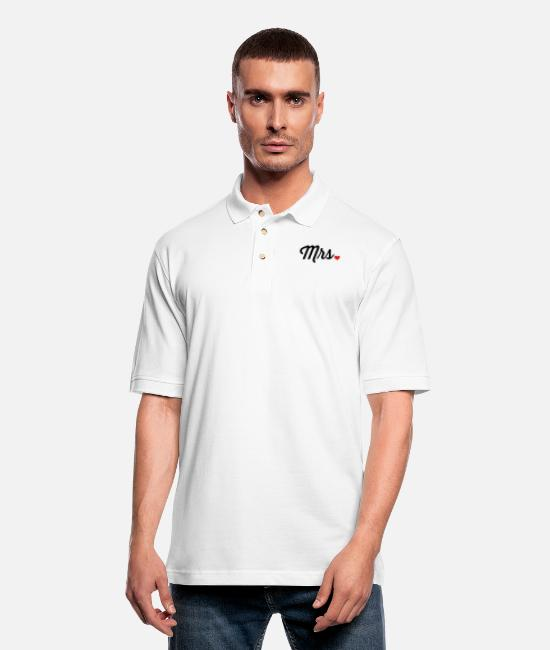 Bachelorette Polo Shirts - Mrs. Heart - Men's Pique Polo Shirt white