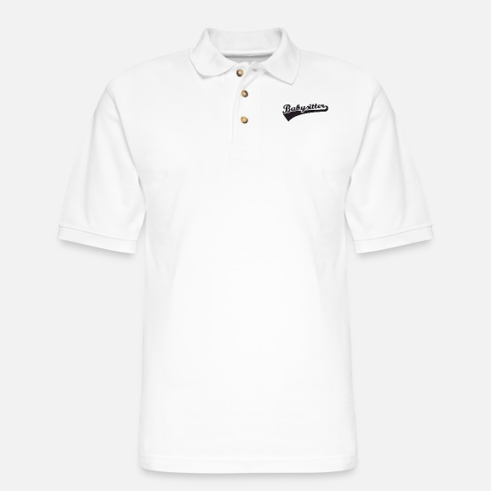 Mummy Polo Shirts - babysitter font - Men's Pique Polo Shirt white