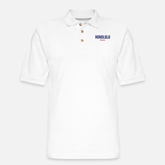 Honolulu Polo Shirts - Honolulu - Hawaii - USA - United States - Waikiki - Men's Pique Polo Shirt white