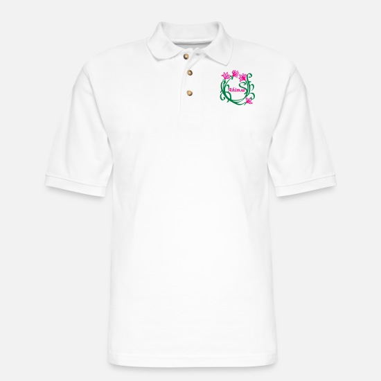 Lotus Flower Polo Shirts - Lotus Flower Ahimsa - Men's Pique Polo Shirt white