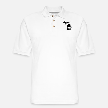 Maize I Love Michigan State - Men's Pique Polo Shirt
