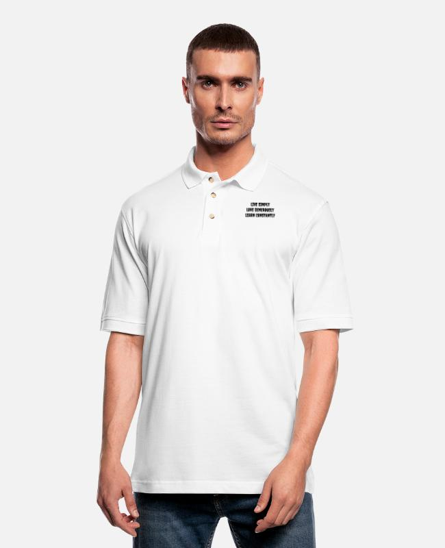 Design Polo Shirts - Live Love Learn - Men's Pique Polo Shirt white