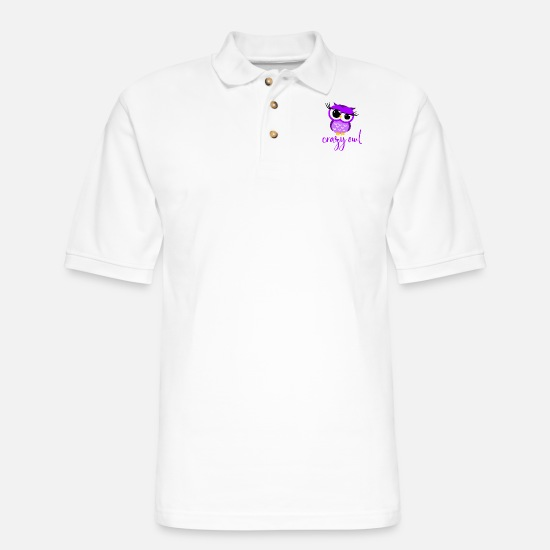 Owl Polo Shirts - Crazy Owl Lady Cute Nocturnal Bird Predator Birds - Men's Pique Polo Shirt white