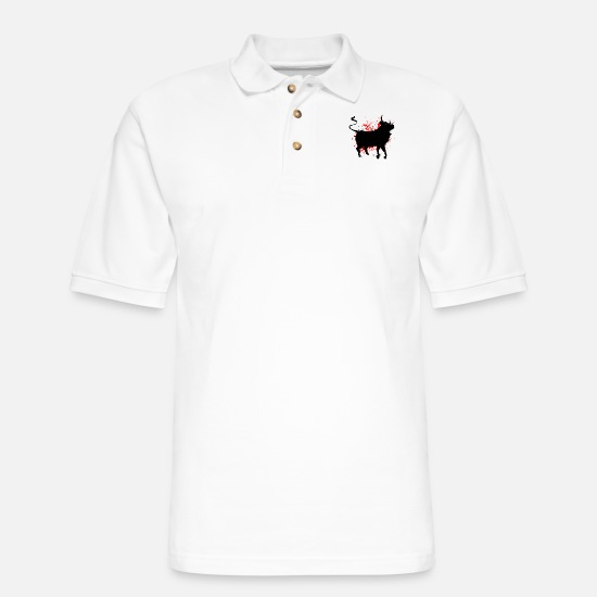 Matador Polo Shirts - Bull Red color splash - Men's Pique Polo Shirt white