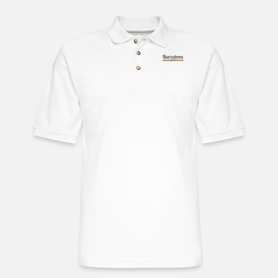 Barcelona Polo Shirts - Barcelona - Men's Pique Polo Shirt white