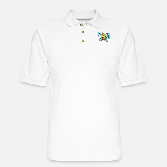 Gift Idea Polo Shirts - Comic Cartoon Frog King - Men's Pique Polo Shirt white