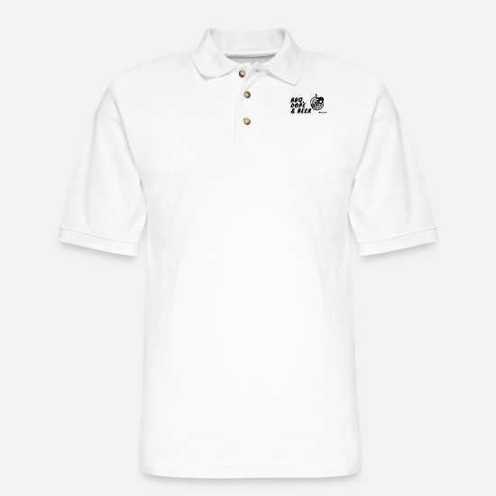 Hashish Polo Shirts - bbq dope and beer logo - Men's Pique Polo Shirt white