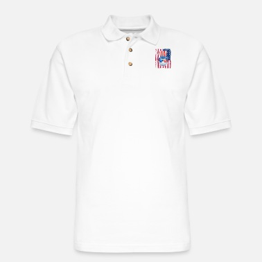 Golf Ball American Flag 4th of July Funny Gift - Men's Pique Polo Shirt