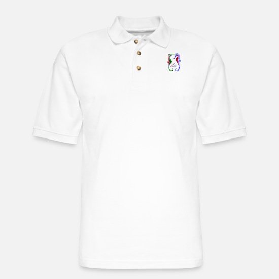 Rainbow Polo Shirts - Sea Spirits, Rainbow Sea Horses. - Men's Pique Polo Shirt white